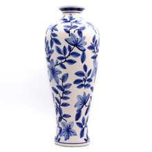 tall white vase with hand-painted  vine and floral design