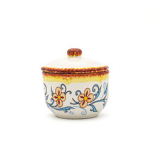 photo of sugar jar with floral decal pattern