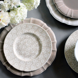 a beige plate with a floral pattern