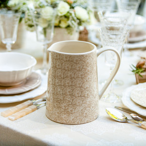 Chloe Floral Accent Pitcher in Beige