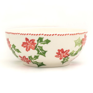 side view of serving bowl with a stamped pattern