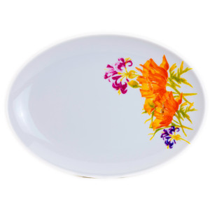white oval platter with a large orange floral design