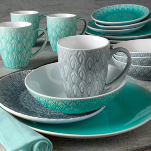 16 piece lagoon and grey dinnerware set  with crackle glaze and an embossed peacock feather design