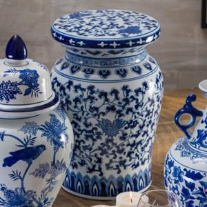 Blue Garden White Lotus Podium Stool