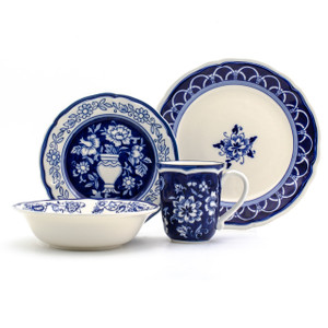 """Each piece in the Euro Ceramica Blue Garden 16 Piece Hand Painted Dinnerware Set, Service for 4, features scalloped edges and a striking blue Asian inspired floral design. Includes: 4 Dinner Plates (10.55"""" x 10.55"""" x 1.18""""), 4 Salad Plates (8.35"""" x 8.35"""" x 0.83""""), 4 Soup/Cereal Bowls (7.87"""" x 7.87"""" x 1.93"""", 20 oz), and 4 Mugs (5.24"""" x 3.82"""" x 4.33"""", 15 oz)"""