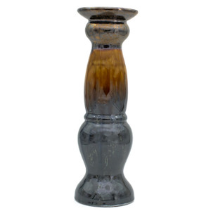 candlestick holder for pillar candles with reflective metallic and brown dripping glaze