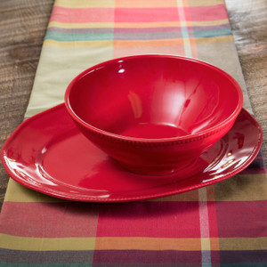 Euro Ceramica Algarve Stoneware Oval Platter and Serving Bowl Set, Embossed Edges, Red