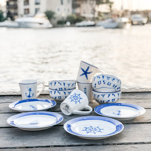 This Euro Ceramica Ahoy 12 Piece Dessert Set makes a great gift set for beach, ocean, boaters, or sailing enthusiasts! Includes 4 plates, 4 bowls, and 4 mugs.