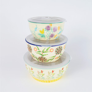 The Ella Storage Bowl set includes a small, medium and large size serving bowl that are superb for serving, and then can be covered for storing your food in the refrigerator or freezer. When you are ready to serve again, they can be placed in the microwave for reheating by turning the lid-lock to open for venting*. The lids must be removed for use in the oven* Ella is dishwasher, oven, freezer and microwave safe.
