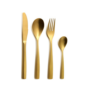 Beautiful and brushed Oro Flatware Serving Set effortlessly pairs with any dining style intentionally blending glam and sophistication.