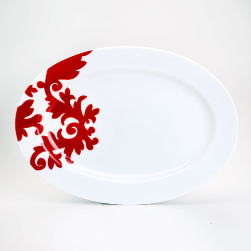 oval platter with red damask design