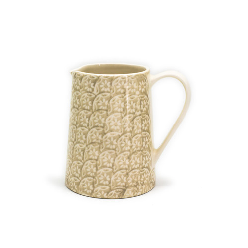 brown floral pitcher