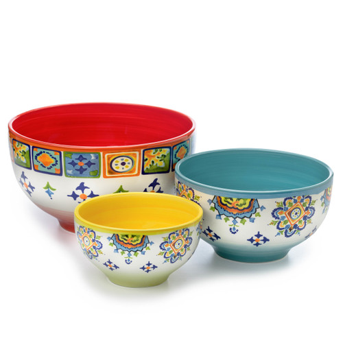 small, medium, and large mixing bowls in yellow, blue, and red respectively