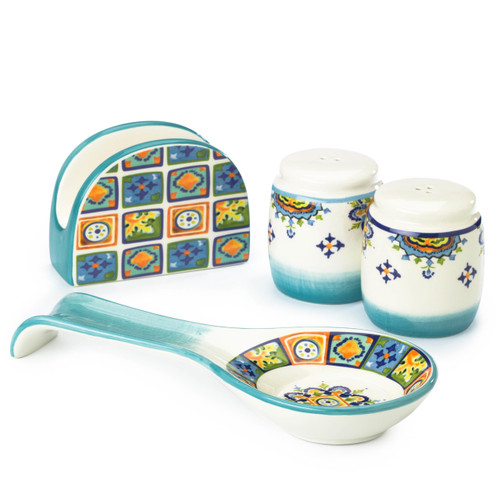four piece accessory set with two shakers, a spoon rest and a napkin holder with a colorful decal design