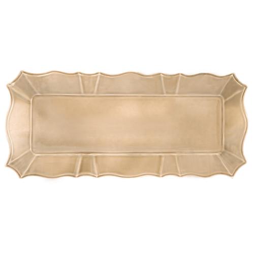 ruffled taupe rectangular platter