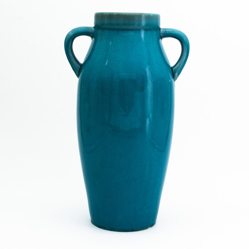 Aqua vase with two handles (amphora shape) and a crackle-finish glaze