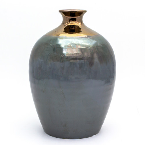 small round metallic vase with a copper mouth and a greenish body