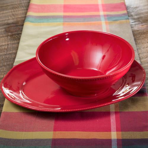 Euro Ceramica Algarve Stoneware Oval Platter and Serving Bowl Set, Embossed Edges, Red