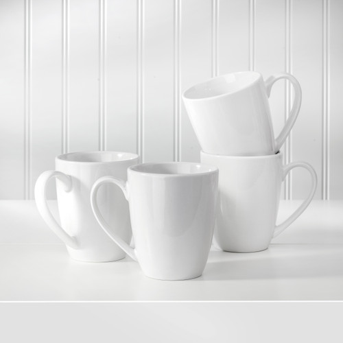 The White Essentials collection is oven-to-table, microwave safe, and dishwasher safe, made of durable true-white porcelain. As always, use caution when removing dishes from any appliance, as they may become warm, and never put a hot dish directly on a bare surface. Mug Size: 7.99 x 7.72 x 5.31; 12 oz.