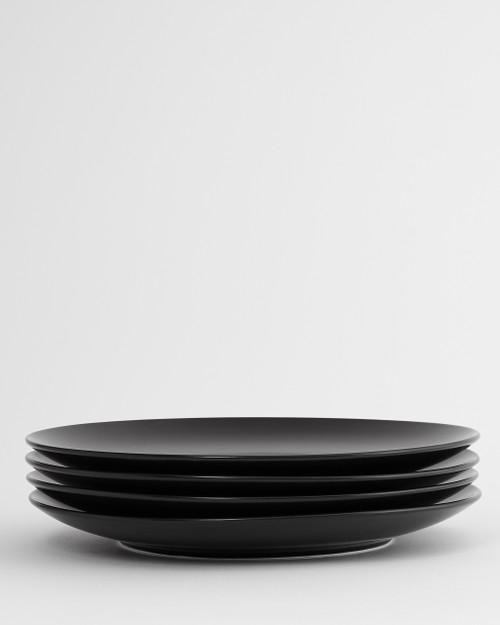 Euro Essential 4 Piece Dinner Plate Set, Semi-Matte Black