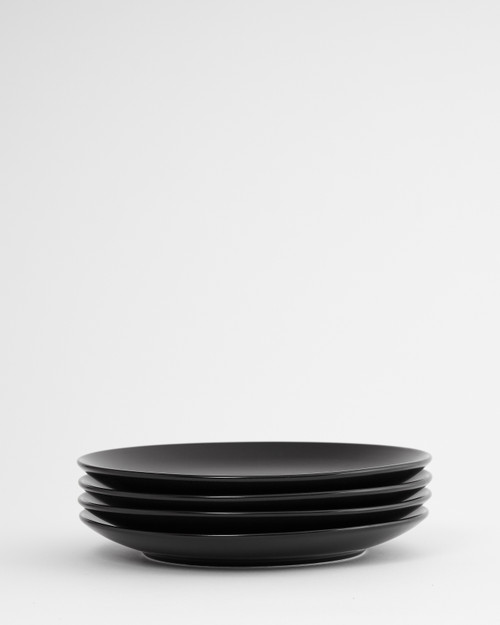 Euro Essential 4 Piece Salad Plate Set, Semi-Matte Black