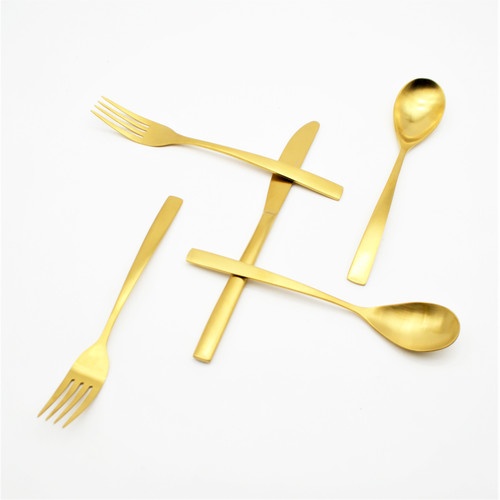 Beautiful and brushed Oro Flatware Serving Set effortlessly pairs with any dining style intentionally blending glam and sophistication. Rounded angles with its flat edge arched 3mm handles set a dynamic place setting.