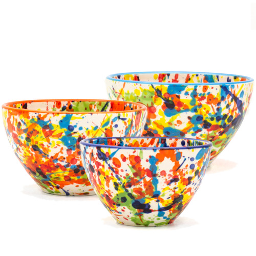 Completely hand-painted by Spanish artisans, every splash and pulse of the Pintura design is unique to the character of that piece. With no two plates exactly alike, the exciting explosion of color will lend endless variation and excitement to any table or meal. Each set in the collection comes in an assortment of four rim colors - cobalt, turquoise, green, and orange – lending even more distinction to the dishes and opening a world of mix-and-match potential.