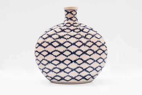 Blue Garden Flat Bottle Vase