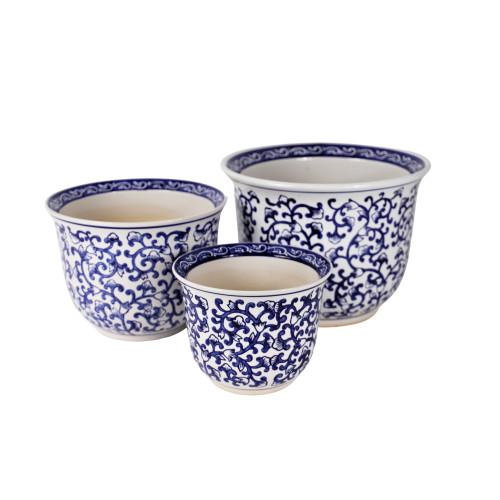 Blue and White Florentine Garden Planter Set