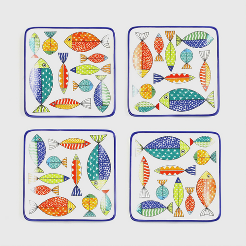 Fresh Catch Collection 7 1/4-Inch Appetizers / Cocktail  Plates, Set of 4