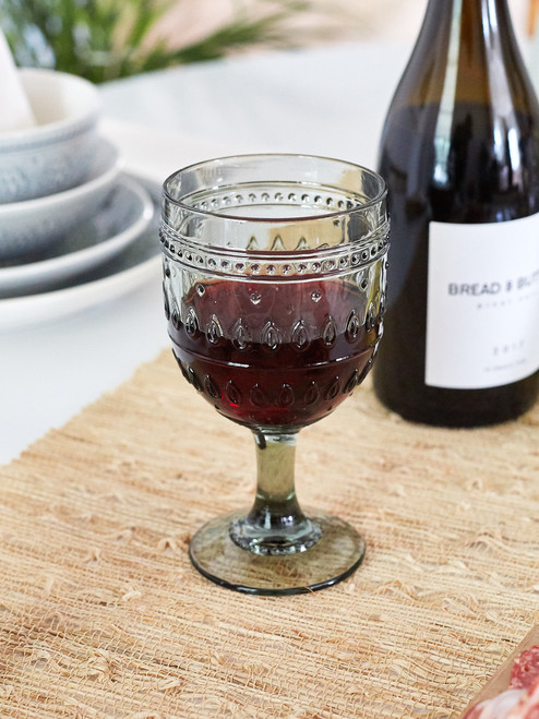 Fez Glassware 4 Piece 12oz Wine Glass Set in Gray