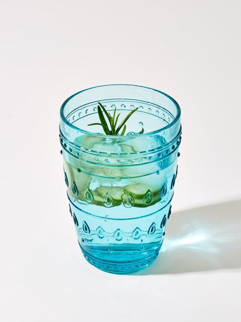 Fez Glassware 4 Piece 14oz Highball Glass Set in Turquoise