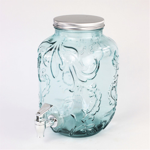 Euro Essential Bara Recycled Glass 4 Liter Mason Jar Beverage Dispenser