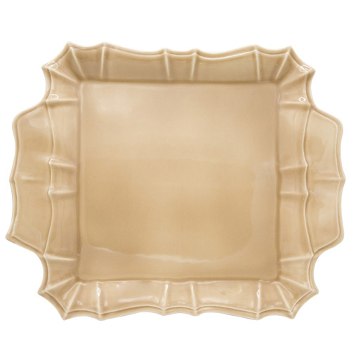 Chloe Square Platter with Handles in Taupe