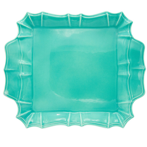 Chloe Square Platter with Handles in Turquoise
