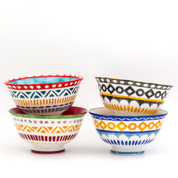 two stacks of four bowls with assorted colors and geometric patterns.