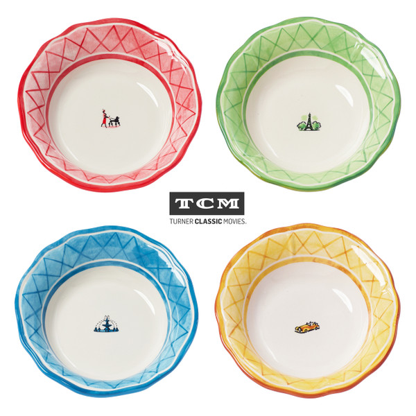 four soup bowls with red, green, blue and yellow rims. each plate features a different icon in the middle: woman walking her dog, a fountain, a building, a car
