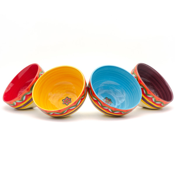 interiors of four bowls in red, yellow, blue, and purple