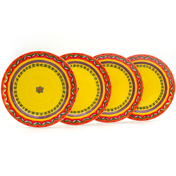 four yellow dinner plates with orangey red rims