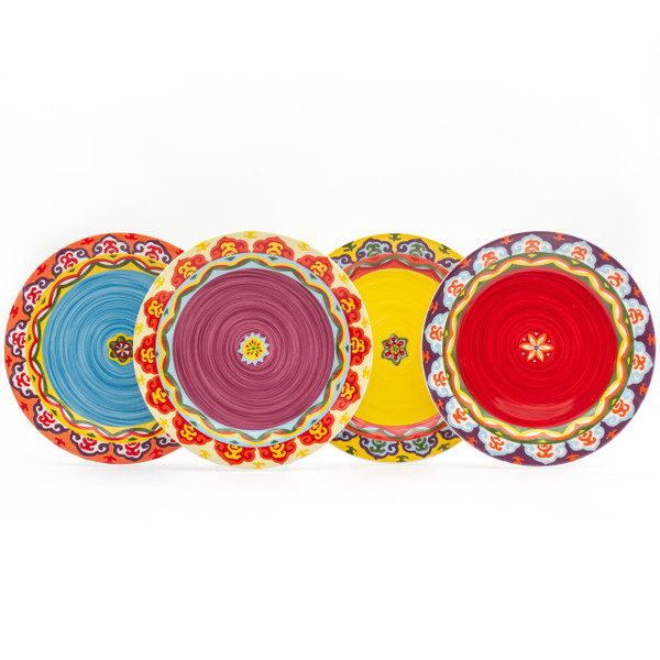 four colorful salad plates with varying designs and blue, purple, yellow, and red interiors