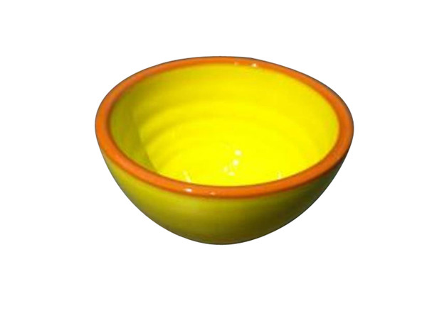 small yellow dipping bowl with terracotta rim