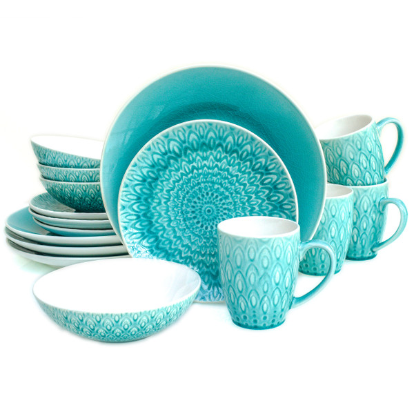16 piece lagoon dinnerware set  with crackle glaze and an embossed peacock feather design