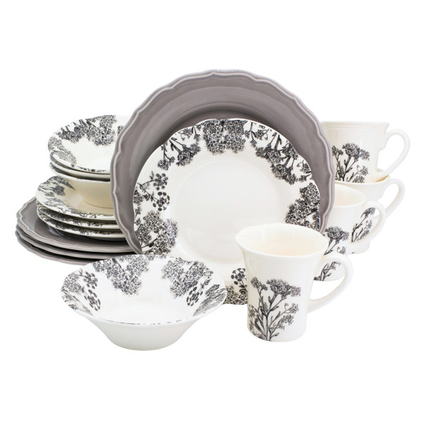 a 16 piece dinnerware set featuring grey dinner plates and grey silhouette floral designs on the bowl, mug and salad plate