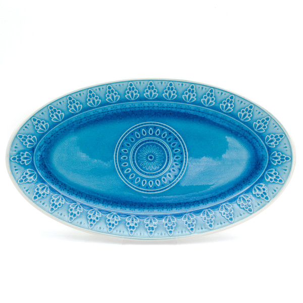oval platter in turquoise with crackle glaze and a traditional mandala design