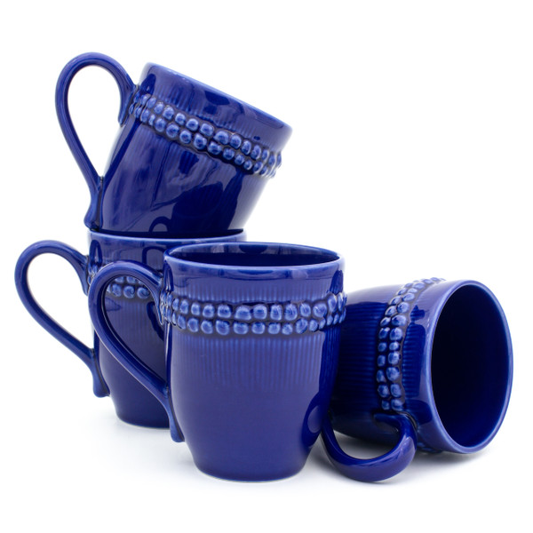 stack of four blue mugs with a double ring of beaded detail just under the top of the handle