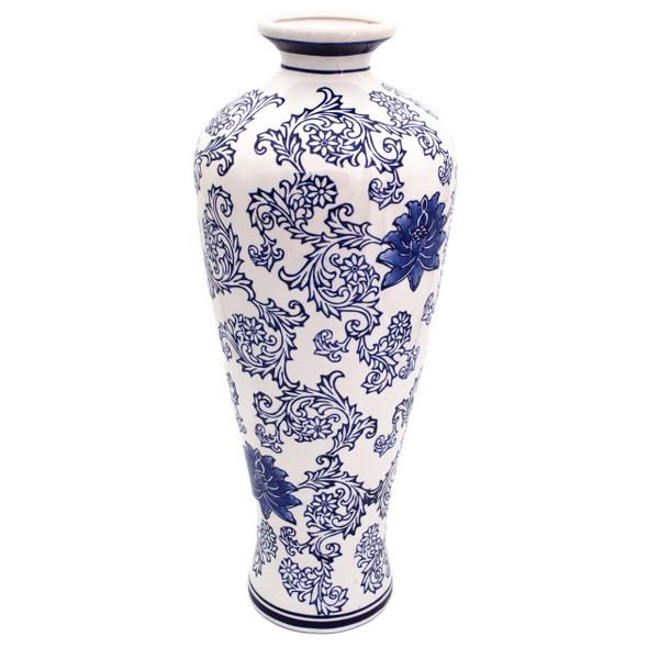 a tall vase with a white body and hand-painted blue lotus pattern