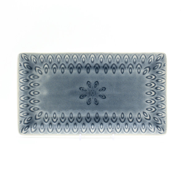 grey rectangular platter with crackle glaze and an embossed peacock feather design