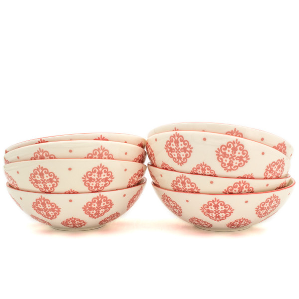 8 white bowls with red patterns in two stacks