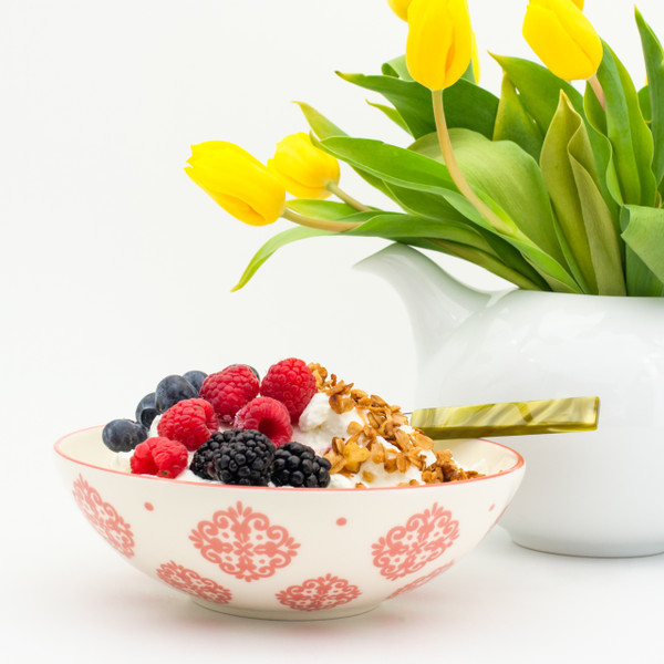 a single white bowl with red patterns filled with yogurt and berries. in the background a white teapot contains a bouquet of yellow tulips