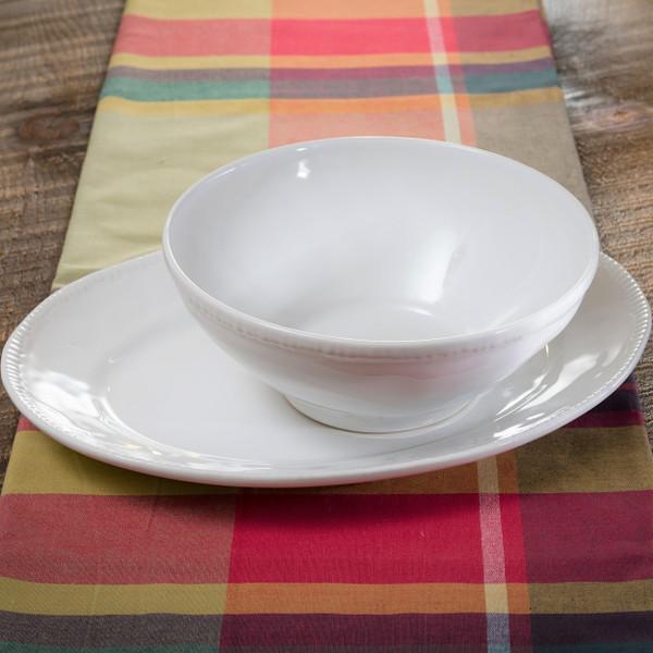 Euro Ceramica Algarve Stoneware Oval Platter and Serving Bowl Set, Embossed Edges, White
